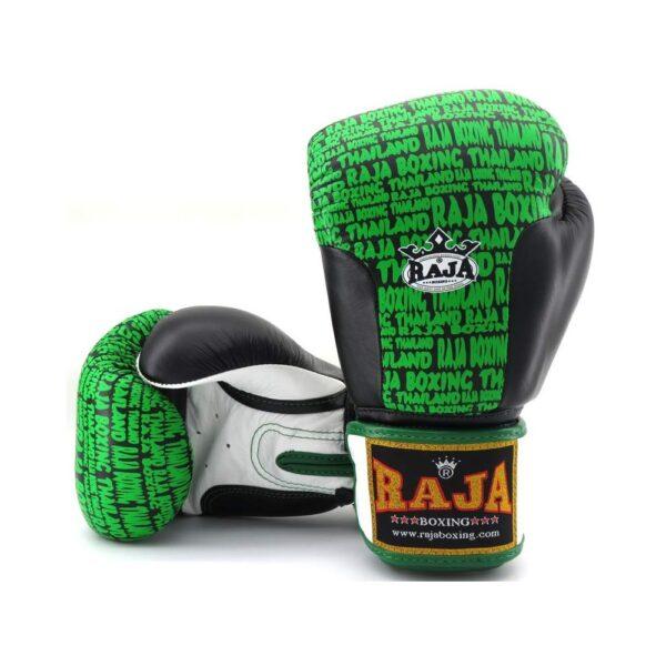 Guantes Raja Boxing Premiun Piel Negro/Verde
