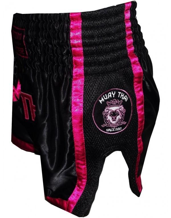 Short Thai Retro Negro/rosa de Custom Fighter